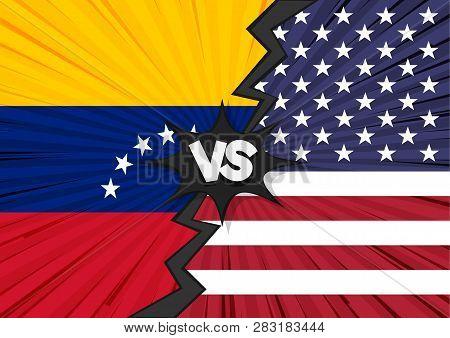 America And Venezuela Tariff Business Global Exchange International. Usa Versus Venezuela Flag. Trad