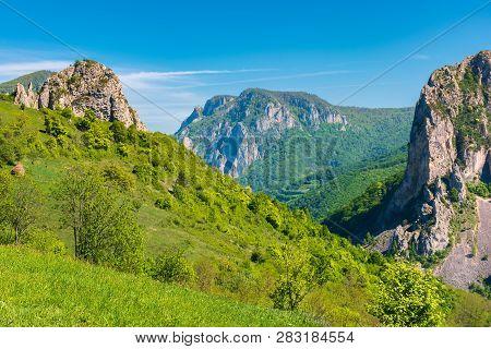 Beautiful Landscape Of Romania Mountains. Huge Cliffs Of Canyon. Wonderful Nature Scenery. Sunny Wea
