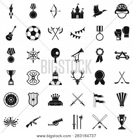 Winning Icons Set. Simple Style Of 36 Winning Icons For Web Isolated On White Background