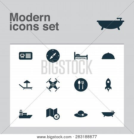 Tourism Icons Set With Food, Rocket, Hat And Other Drone Elements. Isolated  Illustration Tourism Ic