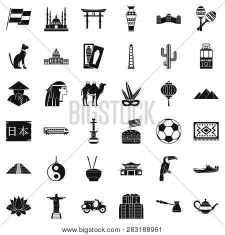 World Tour Icons Set. Simple Style Of 36 World Tour Icons For Web Isolated On White Background