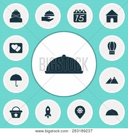 Tourism Icons Set With Parasol, Calendar, House And Other Tray Elements. Isolated Vector Illustratio