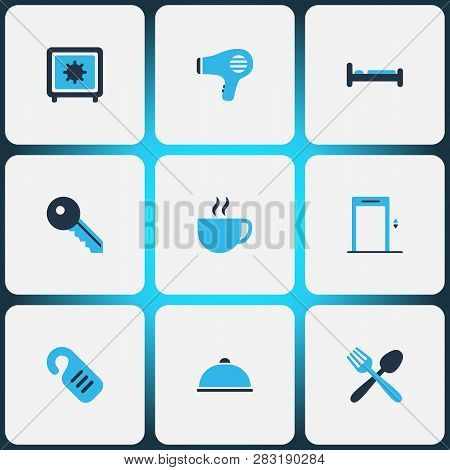 Tourism Icons Colored Set With Hairdryer, Elevator, Bed And Other Door Hanger Elements. Isolated Vec