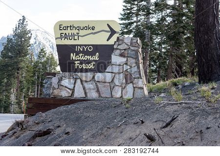 Mammoth Lakes, Ca - May 20, 2018: Sign For The Inyo Earthquake Fault In The Inyo National Forest