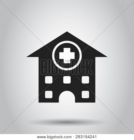 Hospital Building Vector Icon. Infirmary Medical Clinic Sign Illustration. Business Concept Simple F