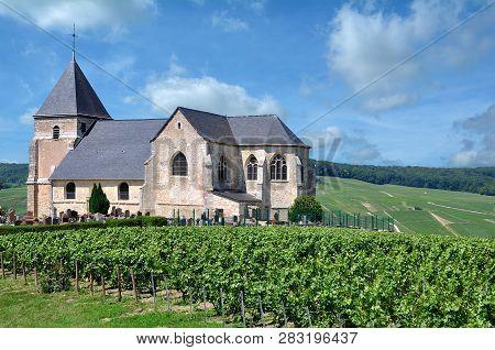 Church In Vineyard Near Epernay In Champagne Region,france