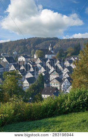 Famous Village Of Freudenberg With Half-timbered Houses In Siegerland,north Rhine Westphalia,germany