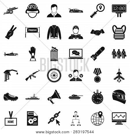 Big Victory Icons Set. Simple Style Of 36 Victory Big Icons For Web Isolated On White Background