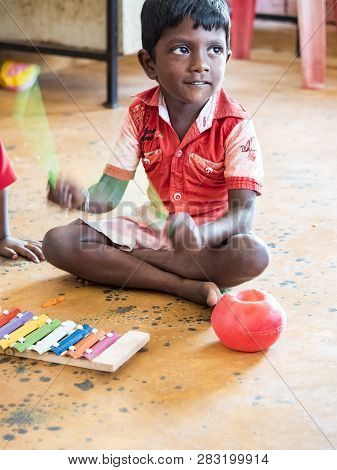 Puduchery, India - December Circa, 2018. Interior Of Poor Kids Playing Room Creche With Unidentified