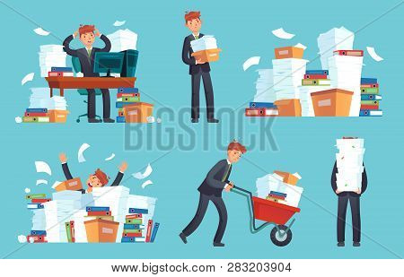Unorganized Office Papers. Businessman Overwhelmed Work, Messy Paper Documents Pile And Files Stack