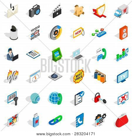 WWW design icons set. Isometric style of 36 www design icons for web isolated on white background poster