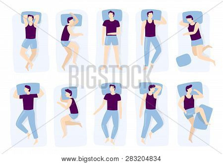 Man Sleeping Poses. Night Sleep Pose, Asleep Male Positioning On Bed And Sleep Position Isolated Vec