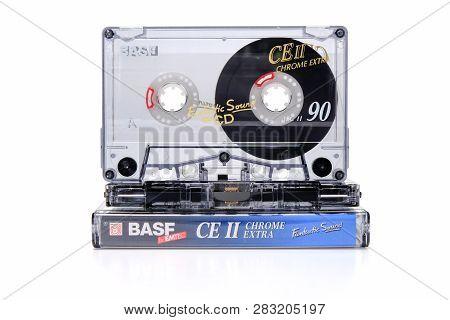 Prague, Czech Republic - January 17, 2019: Audio Compact Cassette Basf Ce Ii Chrome On Plastic Box W