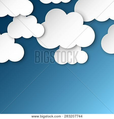 Paper Clouds On A Blue Sky. Cartoon Paper Cloud Illustration Background. Air Business Concept.