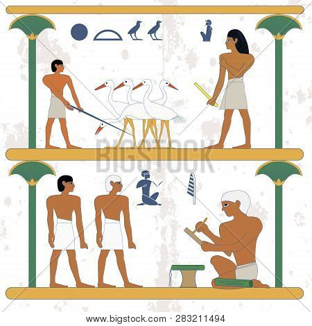 Ancient Egypt Background. Peasant Working At Ciconia Farmind And Egypt Nobleman Scene. The Scribe Ke