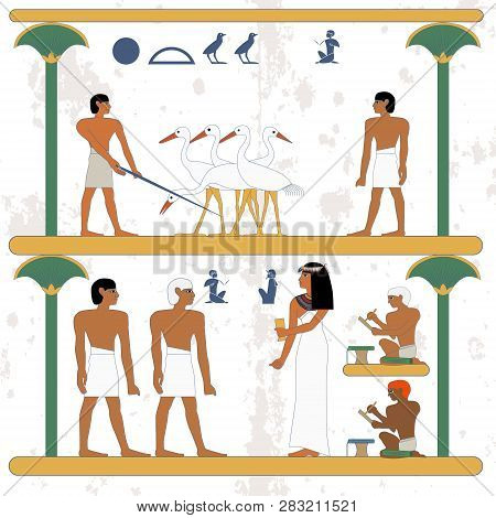 Ancient Egypt Background. Peasant Working At Ciconia Farmind And Egypt Man Waling Alog Scene. The No
