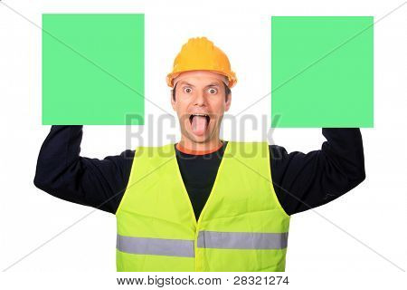 Portrait of a worker with two publicity boards, isolated on white background