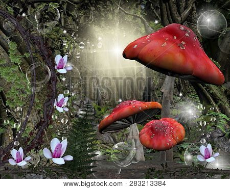 Enchanted Romantic Forest With Huge Red Mushrooms - 3d Illustration