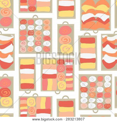 Drawer Organization Seamless Vector Background. Closet Organization Illustration. Tidy Up Pattern. D