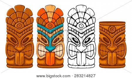 Tiki Tribal Wooden Mask Set And Tiki Mug. Hawaiian Traditional Elements. Colored, Wooden And Black A