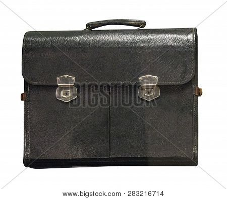 Leather Briefcase Isolated On White Phoneme. Old Shabby Leather Briefcase .