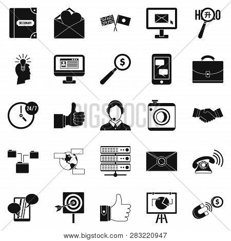 Interplay Icons Set. Simple Set Of 25 Interplay Icons For Web Isolated On White Background