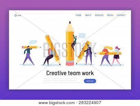 Business Creative Copywriter Teamwork Landing Page. Drawn People Holding Pencil. Blogger Work Goal.