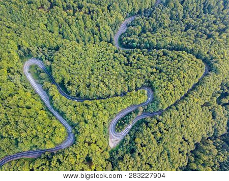Transfagarasan National Road Dn7c Connecting Regions Of Transylvania And Wallachia. Winding Asphalt