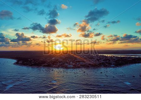 Aerial View Of Sunset In Porto De Galinhas, Pernambuco, Brazil. Fantastic Landscape. Great Sunset Vi