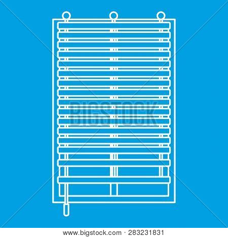 Window With Wooden Jalousie Icon Blue Outline Style Isolated Illustration. Thin Line Sign
