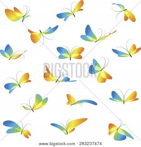 Flying Butterflies, Colorful Different Butterflies, Collection Art Butterflies, Isolated On White Ba