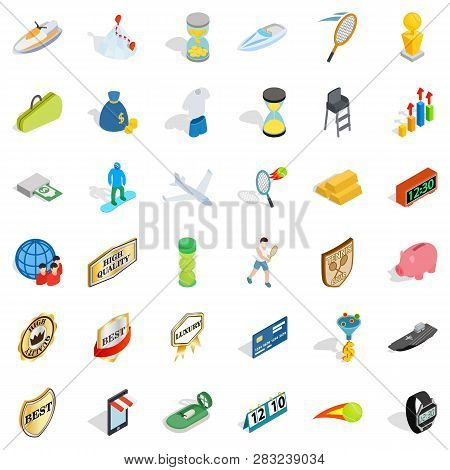 Hard Victory Icons Set.isometric Style Of 36 Hard Victory Icons For Web Isolated On White Background