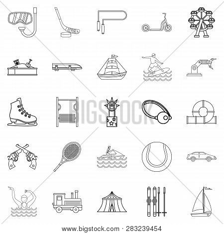 Physical Culture Icons Set. Outline Set Of 25 Physical Culture Icons For Web Isolated On White Backg