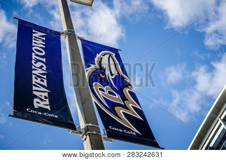 Baltimore, Maryland - December 1, 2018: Signs Advertising The Baltimore Ravens Football Team In Down