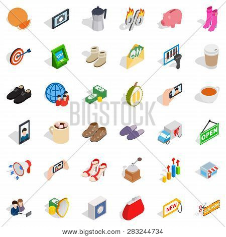 Woman Buying Icons Set. Isometric Style Of 36 Woman Buying Icons For Web Isolated On White Backgroun
