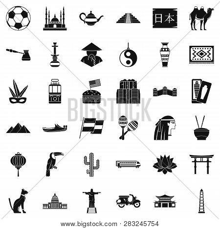 World Tourism Icons Set. Simple Style Of 36 World Tourism Icons For Web Isolated On White Background