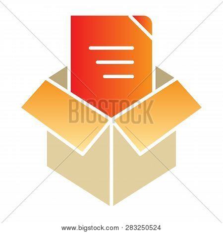 Unpacking Flat Icon. Box Unpack Color Icons In Trendy Flat Style. File Unpacking Gradient Style Desi