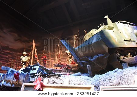 Schneider Ca1 Tank On Display Inside The World War One Exhibit At The First Division Museum, Cantign