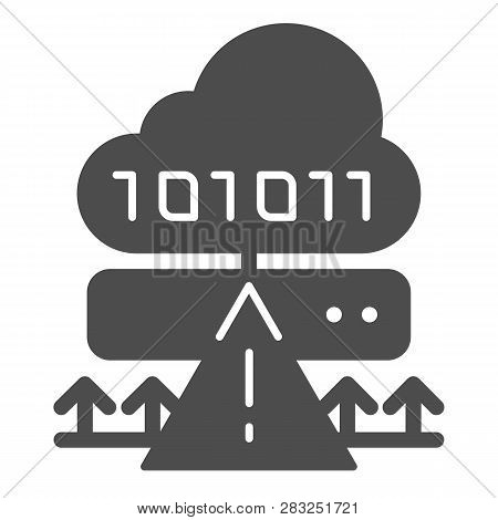 Cloud cyber attack solid icon. Ddos server hack vector illustration isolated on white. Server attack glyph style design, designed for web and app. Eps 10. poster
