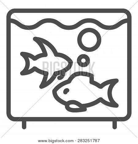 Aquarium Line Icon. Fish In Aquarium Vector Illustration Isolated On White. Fishbowl Outline Style D