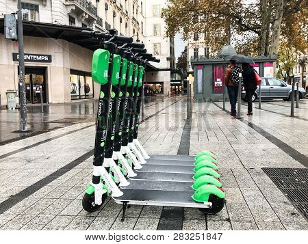 Lyon France, 2 December 2018 : Lime-s Electric Scooter Of The Company Lime In The Street In Lyon Fra