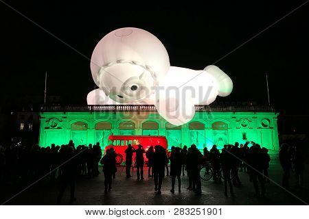 Lyon France, 7 December 2018 : Bellecour Place View During Fete Des Lumieres With The Office Of Tour