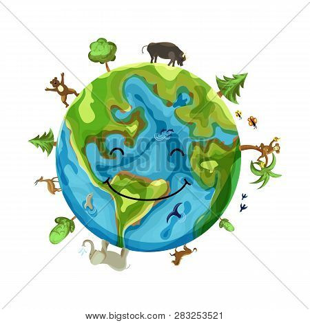 Cartoon Earth Illustration Isolated On White Background