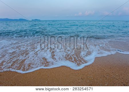 Sea Wave Foam On Karon Beach Phuket Thailand. Exotic Paradise Of Thailand Beach Asia. Peaceful Ocean