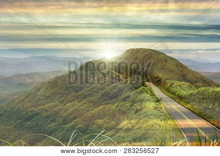 Nice Road With Sunrise With Colud And Beautiful Color