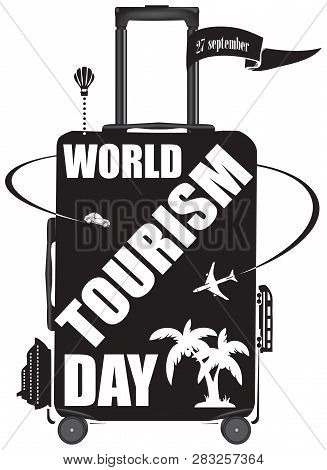 Suitcase With The Image Of Various Types Of Tourism To The World Tourism Day