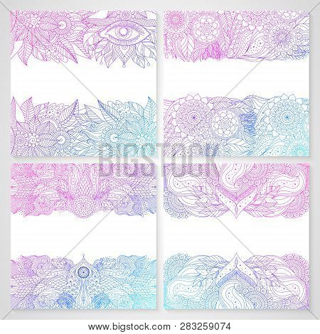 Ethnic Floral Cards With Mandala Ethnic Lace Pattern