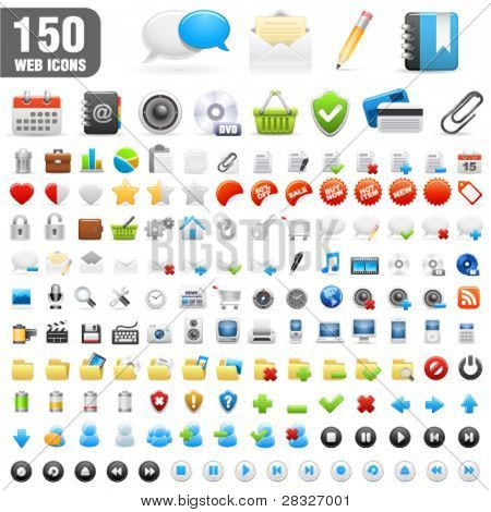 150 detailed icons. Vector Illustration