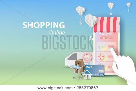 Illustration Of Shopping Online Summer Sale On Mobile Application Vector Concept. Banner Of Phone Ap