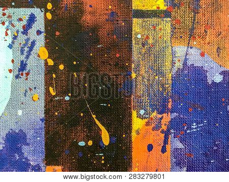 Art Background. Canvas Painted With Bright Multicolor Oil Paints